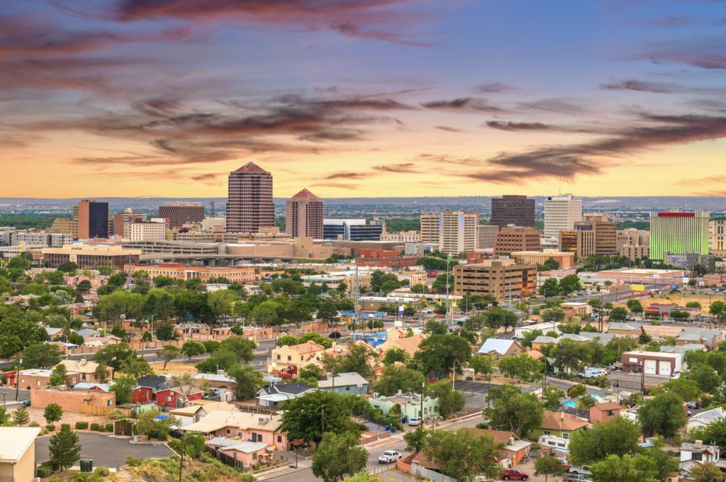 Albuquerque, New Mexico, USA Cityscape during sundown